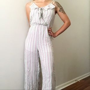 All In Favor White Striped Jumpsuit Size Medium